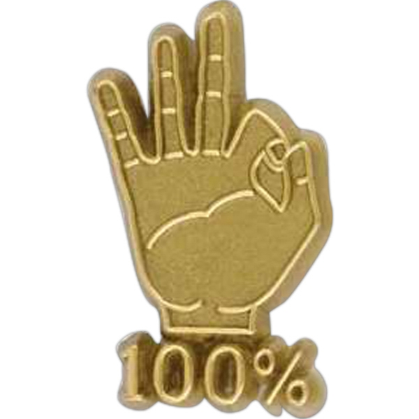 "Hand-shaped Plastic Lapel Pin With ""100%"" Lettering And Clutch Back Style Photo"