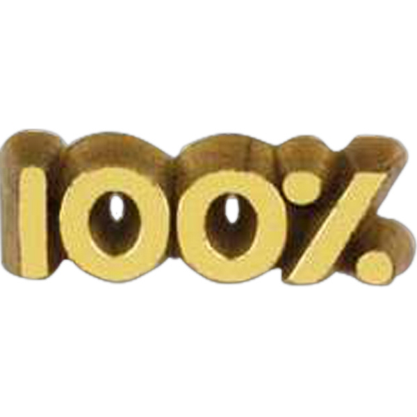 "Plastic Lapel Pin With ""100%"" Lettering And Clutch Back Style Photo"
