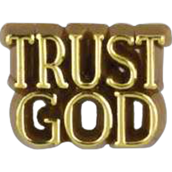 "Plastic Lapel Pin With ""trust God"" Lettering And Clutch Back Style Photo"
