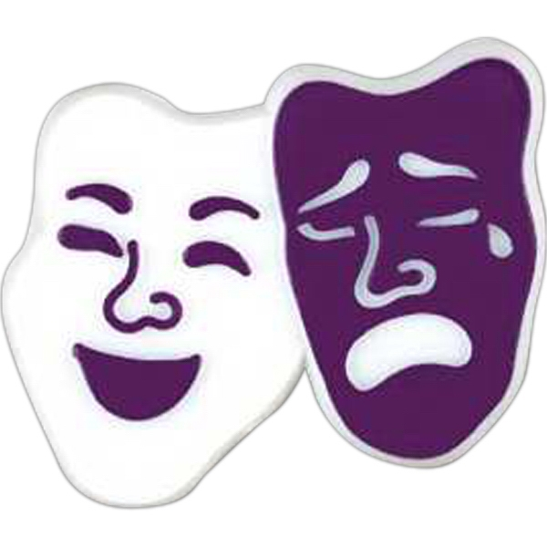 Comedy And Tragedy Mask-shaped Plastic Lapel Pin With Clutch Back Style Photo
