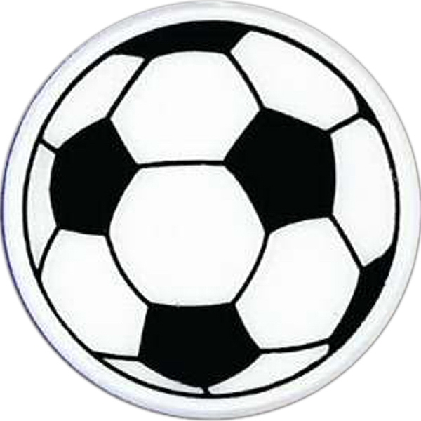 Soccer Ball-shaped Plastic Lapel Pin With Clutch Back Style Photo