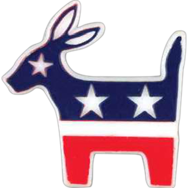 Political Donkey-shaped Plastic Lapel Pin With Clutch Back Style Photo