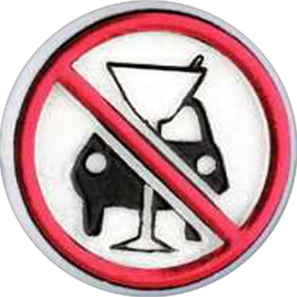 Round Plastic Lapel Pin With Anti-drinking And Driving Symbol Photo