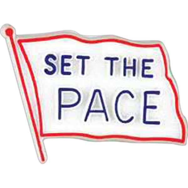 "Flag-shaped Plastic Lapel Pin With ""set The Pace"" Lettering Photo"