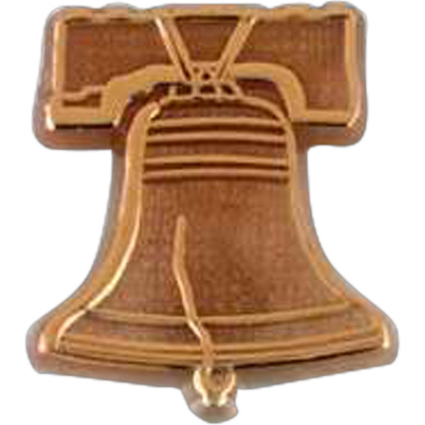 Liberty Bell Shaped Plastic Lapel Pin With Clutch Back Style Photo