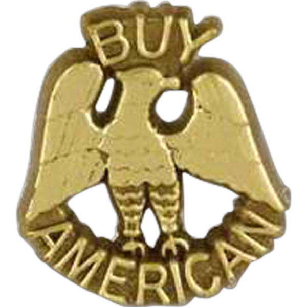 "Eagle Shaped Plastic Lapel Pin With ""buy American"" Message Photo"