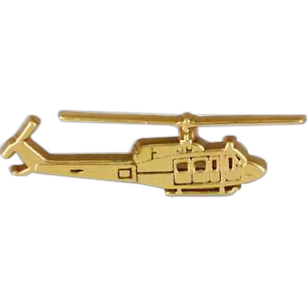 Helicopter-shaped Plastic Lapel Pin With Clutch Back Style Photo