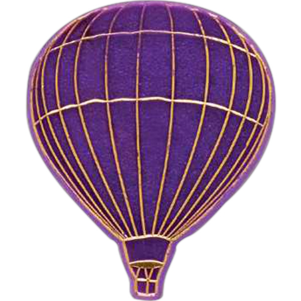 Hot Air Balloon-shaped Plastic Lapel Pin With Clutch Back Style Photo