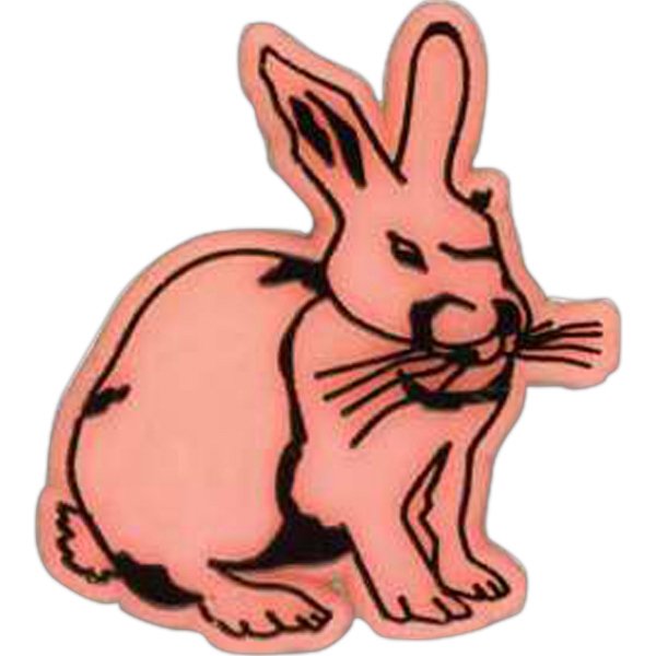 Rabbit-shaped Plastic Lapel Pin With Clutch Back Style Photo