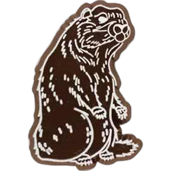 Badger-shaped Plastic Lapel Pin With Clutch Back Style Photo