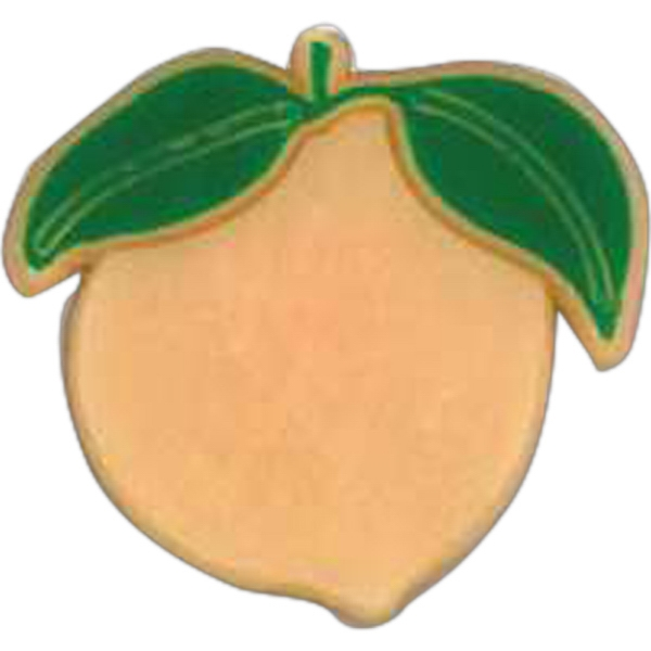 Peach-shaped Plastic Lapel Pin With Clutch Back Style Photo