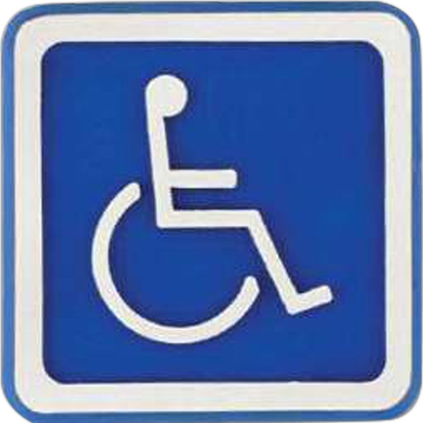 Square-shaped Plastic Lapel Pin With Wheelchair Access Symbol Photo