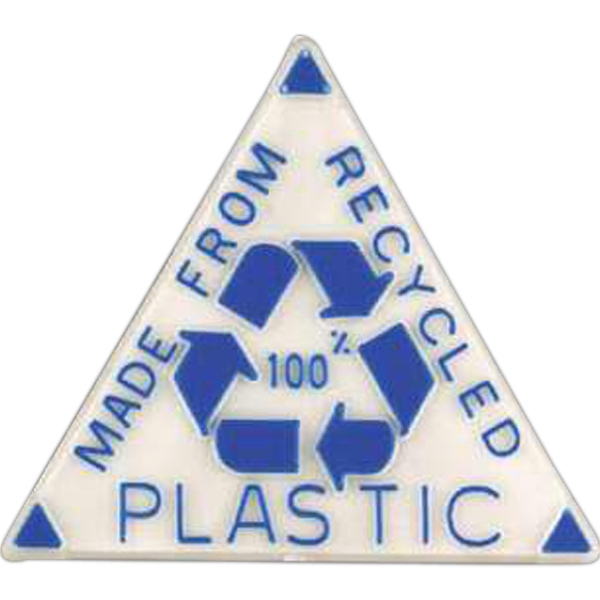 "Triangle-shaped Plastic Lapel Pin With ""made From 100% Recycled Plastic"" Photo"
