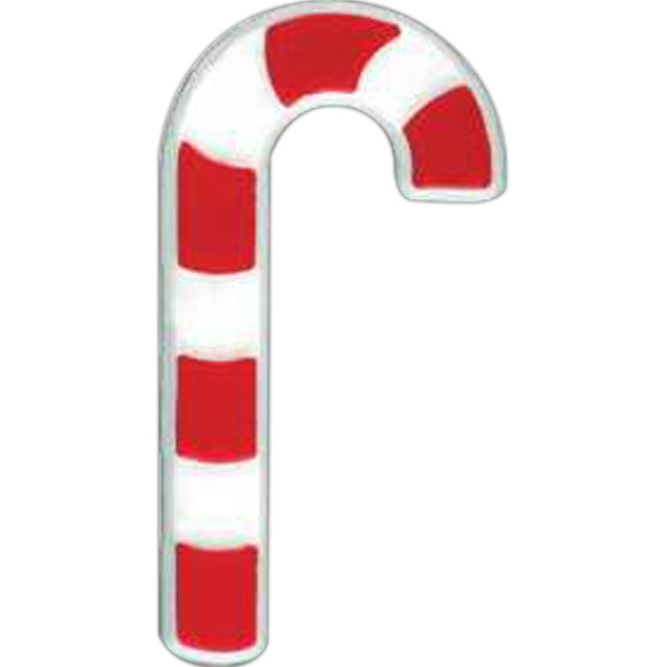 Candy Cane-shaped Plastic Lapel Pin With Clutch Back Style Photo