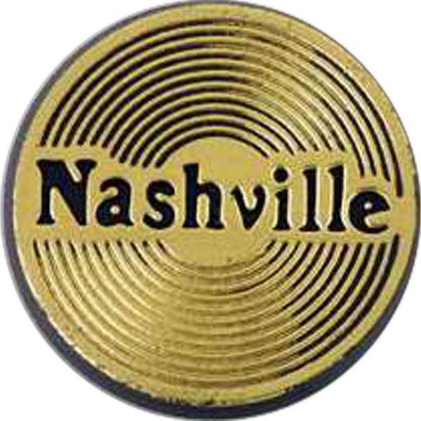 "Round Plastic Lapel Pin With ""nashville"" Lettering And Clutch Style Back Photo"