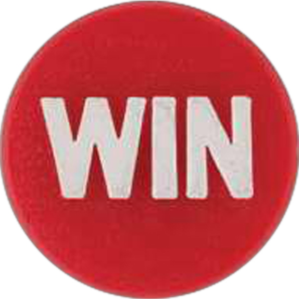 "Round Plastic Lapel Pin With ""win"" Lettering And Clutch Style Back Photo"