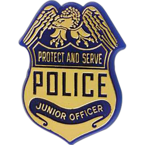 "Police Badge-shaped Plastic Lapel Pin With ""protect And Serve"" Lettering Photo"