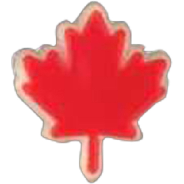 Canadian Maple Leaf-shaped Plastic Lapel Pin With Clutch Back Style Photo