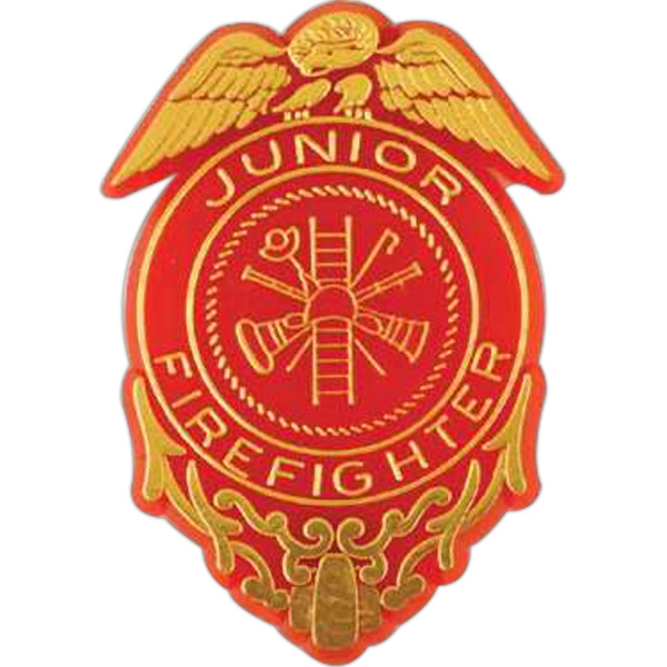 Junior Firefighter Badge-shaped Plastic Lapel Pin With Clutch Back Style Photo