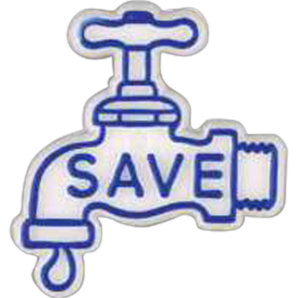 "Water Faucet-shaped Plastic Lapel Pin With ""save"" Lettering Photo"