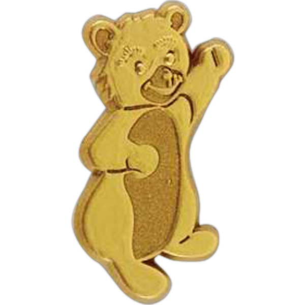 Bear-shaped Plastic Lapel Pin With Clutch Back Style Photo