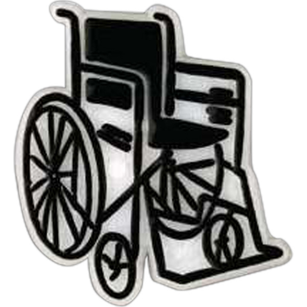 Wheelchair-shaped Plastic Lapel Pin With Clutch Back Style Photo