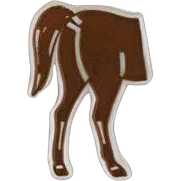 Horse's Hind Quarters Shaped Plastic Lapel Pin With Clutch Back Style Photo