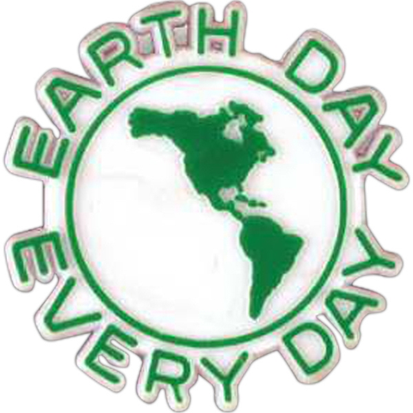 "Earth-shaped Plastic Lapel Pin With ""earth Day Every Day"" Lettering Photo"