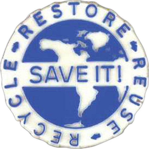 "Earth-shaped Plastic Lapel Pin With ""save It!"" And ""recycle"" Messages Photo"