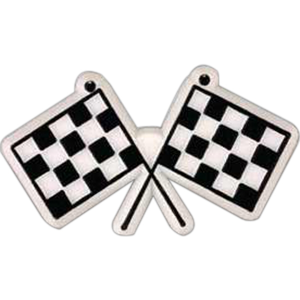 Crossed Checkered Flags-shaped Plastic Lapel Pin With Clutch Back Style Photo
