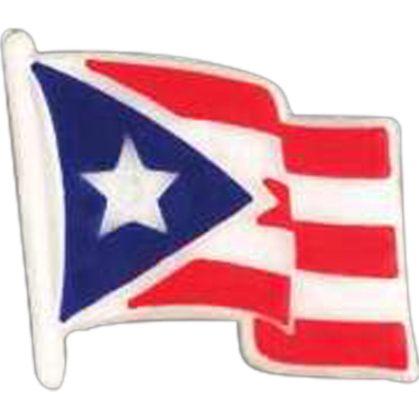 Puerto Rican Flag-shaped Plastic Lapel Pin With Clutch Back Style Photo