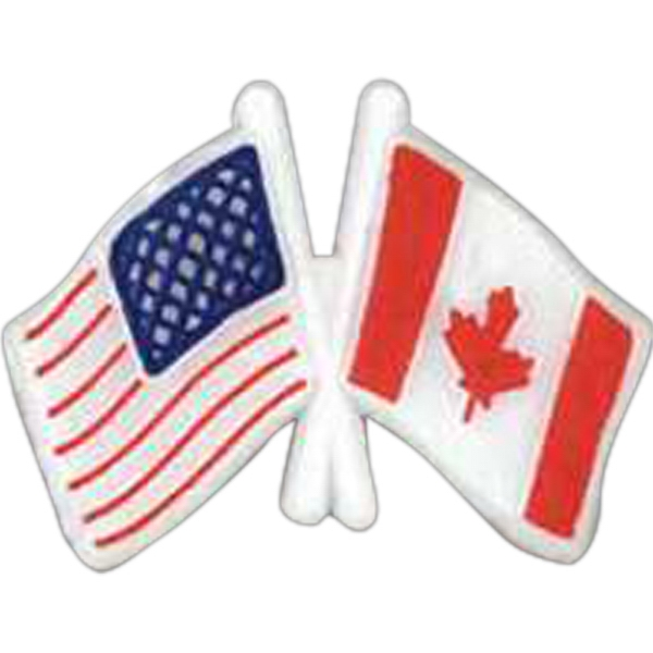 Usa/canadian Crossed Flags-shaped Plastic Lapel Pin With Clutch Back Style Photo