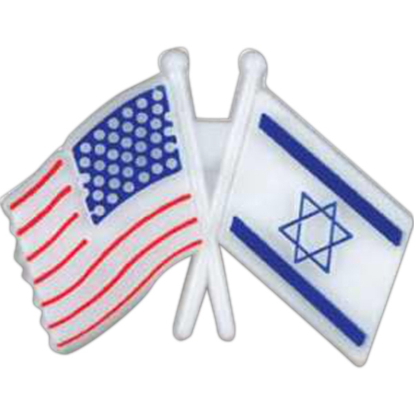 Crossed Usa/israel Flags-shaped Plastic Lapel Pin With Clutch Back Style Photo