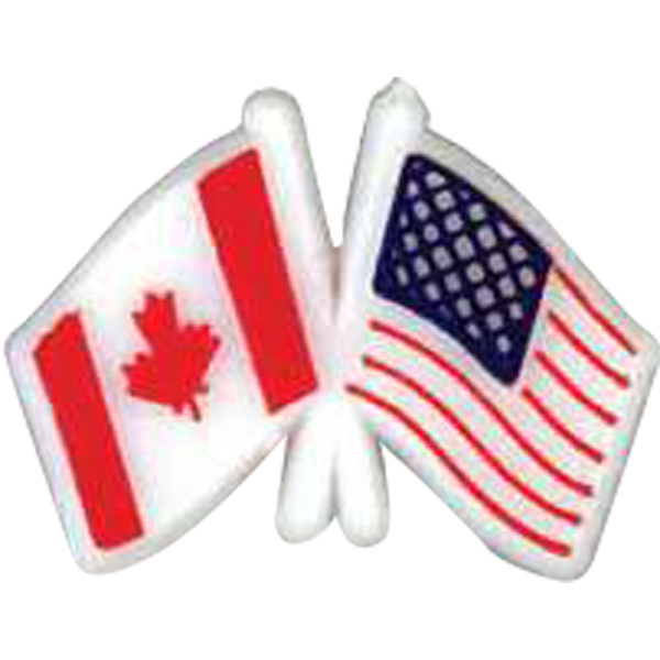 Canadian/usa Crossed Flags-shaped Plastic Lapel Pin With Clutch Back Style Photo
