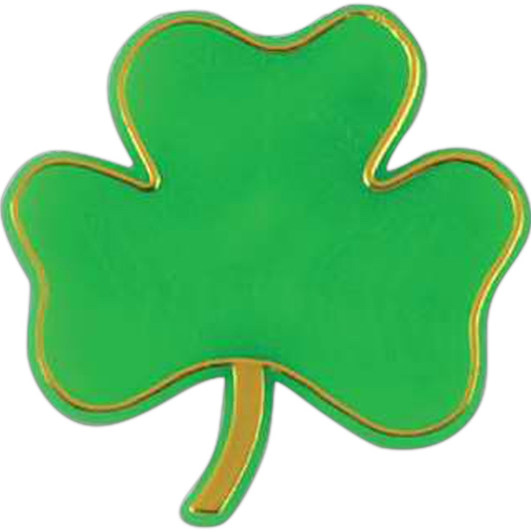 Shamrock-shaped Plastic Lapel Pin With Clutch Back Style Photo