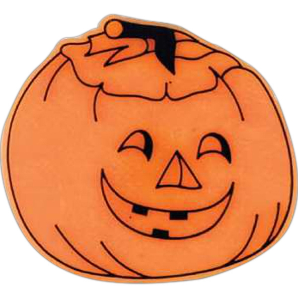 Jack-o-lantern-shaped Plastic Lapel Pin With Clutch Back Style Photo