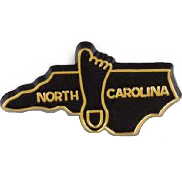 North Carolina - Plastic Stock State Design Lapel Pin With A Clutch Back Photo