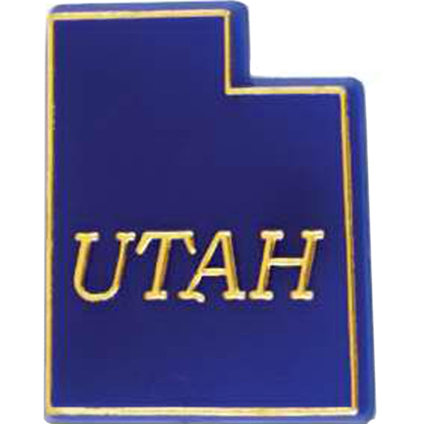 Utah - Plastic Stock State Design Lapel Pin With A Clutch Back Photo