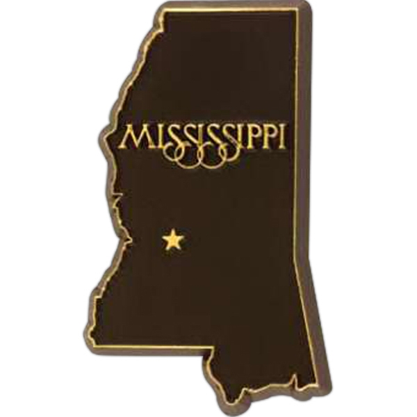 Mississippi - Plastic Stock State Design Lapel Pin With A Clutch Back Photo