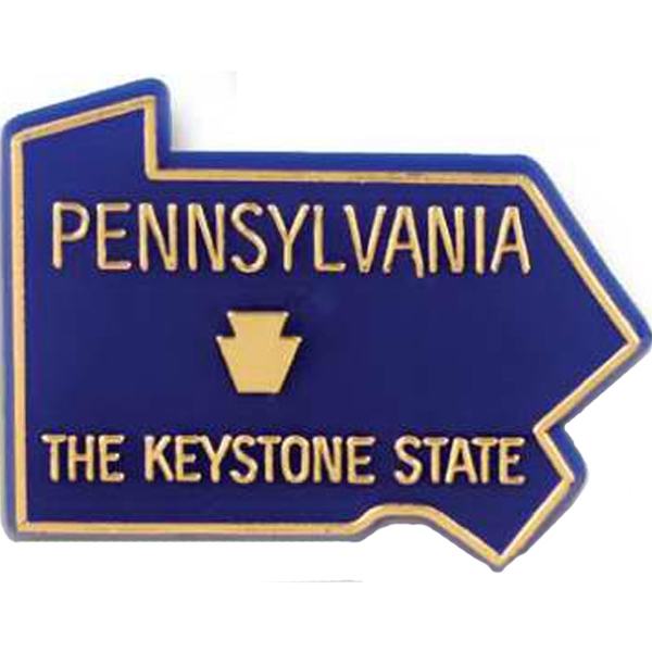 Pennsylvania - Plastic Stock State Design Lapel Pin With A Clutch Back Photo