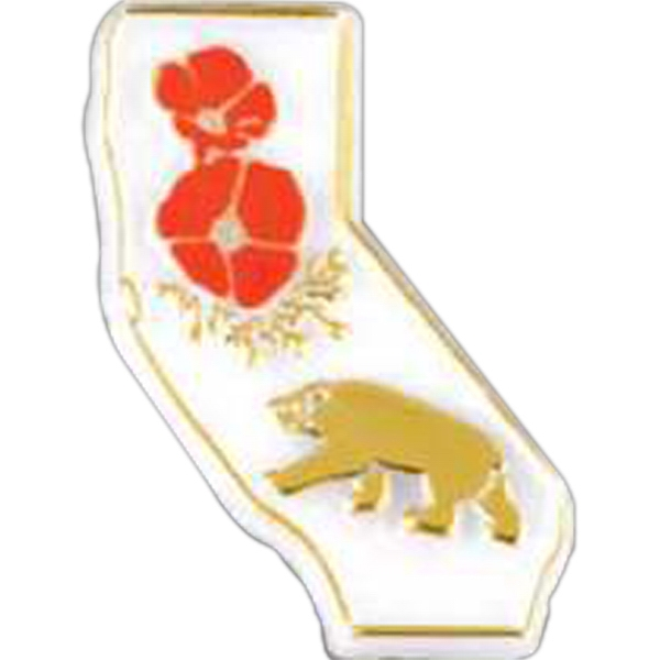 Stock California State Shaped Design Lapel Pin With Clutch Style Back Photo