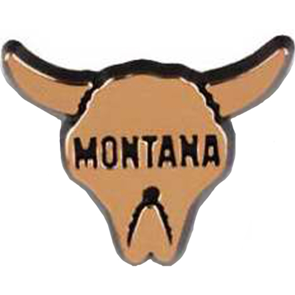"Plastic Steer's Head With ""montana"" State Stock Design Lapel Pin Photo"