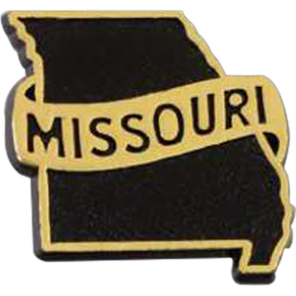 "Plastic Missouri State Shape Lapel Pin With ""missouri"" Words Photo"