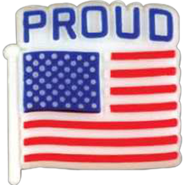 "Plastic Patriotic Lapel Pin With Flag Shape And ""proud"" On Top Design Photo"