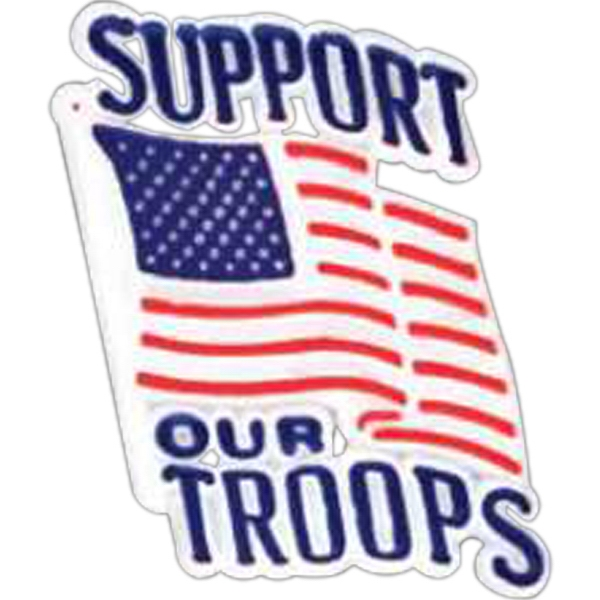 "Plastic Patriotic Lapel Pin With Waving Flag And ""support Our Troops"" Design Photo"