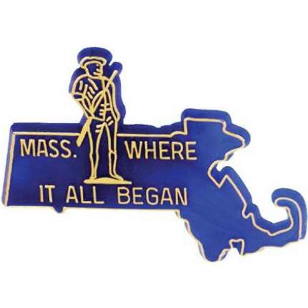 Stock Massachusetts State Design Lapel Pin With Clutch Style Back Photo