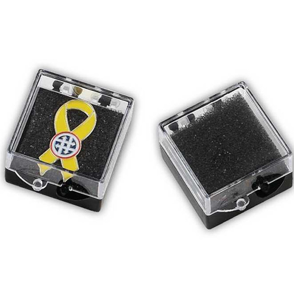 Presentation Box For Lapel Pins - Presentation Box With Foam And Hinged Lids. Blank Photo