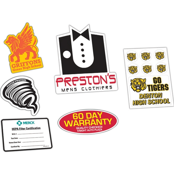 Clear Poly Die Cut Permanent Adhesive Back Custom Decal