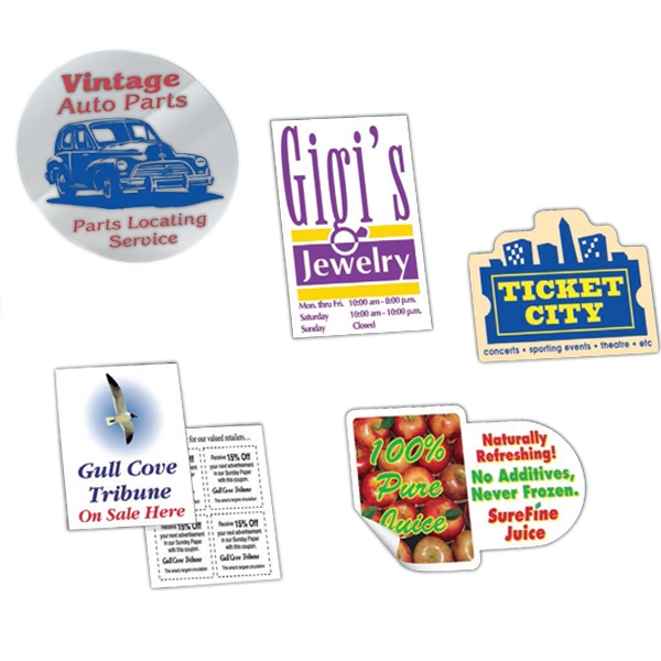 5 Or Less Square Inches - One Color - Static Back - Static Cling Clear Vinyl Custom Shape Decal Photo