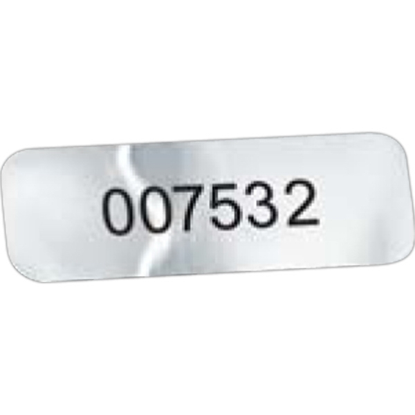 "Idento (r) - Chrome Vinyl - 1/2"" X 1 1/2"" Identification Decal With Permanent Adhesive Photo"